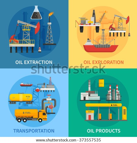 Flat 2x2 images presenting oil petrol industry oil exploration extraction transportation products vector illustration - stock vector