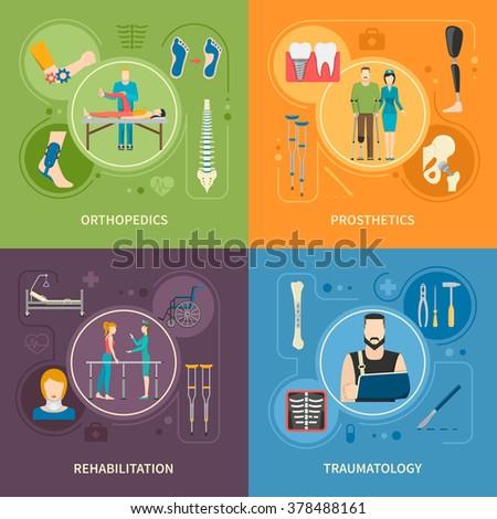 Flat 2x2 images set presenting orthopedics prosthetics rehabilitation and traumatology medical service vector illustration - stock vector