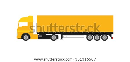 Flat yellow cargo delivery truck (on white background). Perfect design element, vector art.