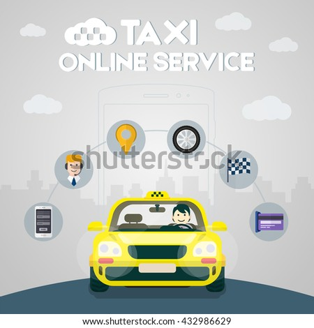 Flat yellow taxi with a driver traveling on the road. Taxi service. Taxi online infographic icons - stock vector
