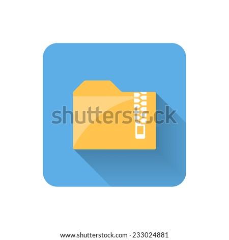 Flat zip folder icon. Vector illustration - stock vector