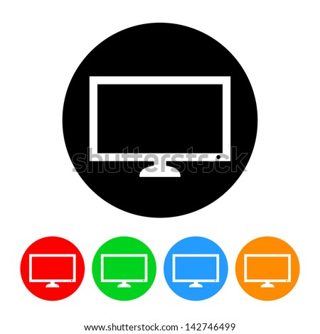 Flatscreen TV Icon - stock vector