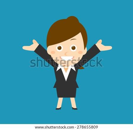 Flatten Vector illustration - Cartoon businesswoman character - stock vector