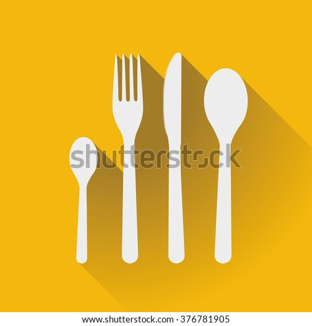 Flatware - spoons, fork and knife in a flat design - stock vector