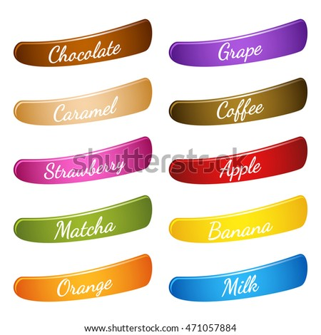 Flavor Icon Set Label Description On Stock Vector