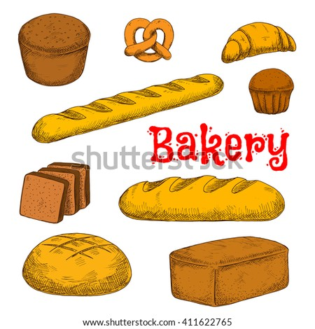 Flavorful rye, whole grain and wheat bread loaves, crispy french baguette and croissant, chocolate cupcake, toasts and sweet soft pretzel sketch icon. Bakery and pastry products - stock vector