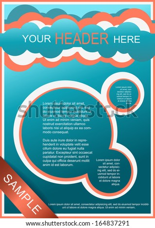 Flayer, brochure or cover template blue and red - stock vector