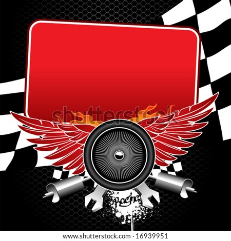 Flayer for racing competitions. There are wheel with wings, flags, mufflers, wrenches and another racing attributes with place for your text. - stock vector