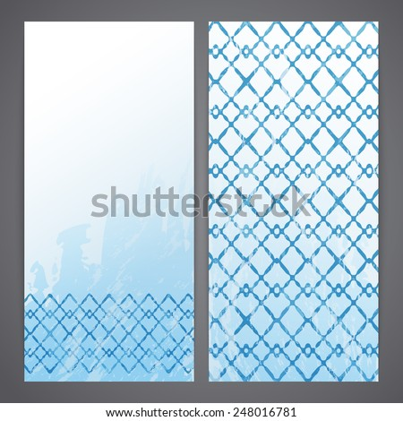 Flayers with blue arabesque decor