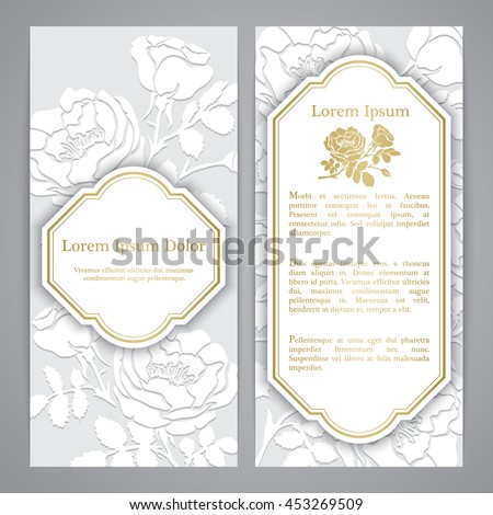 Flayers with rose graphic flowers. Embossed paper imitation - stock vector