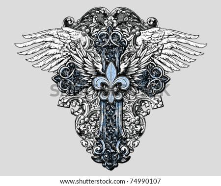 Fleur de lis Cross with Wings - stock vector