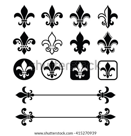 Fleur de lis - French symbol design, Scouting organizations, French heralry  - stock vector