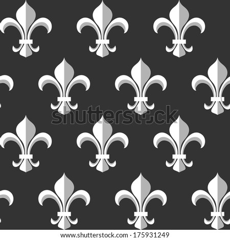 Fleur-de-lis monochrome seamless pattern - stock vector