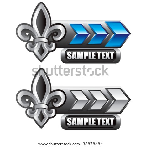 fleur de lis on blue and silver arrow nameplates - stock vector