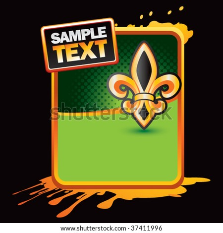 fleur de lis on orange splattered banner - stock vector