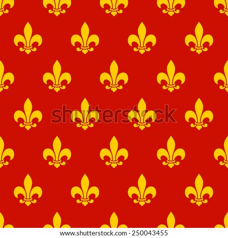 Fleur de lis seamless pattern. Endless vector background - stock vector