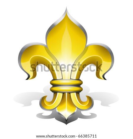 Fleur de Lys, antique symbol of french royalty - stock vector