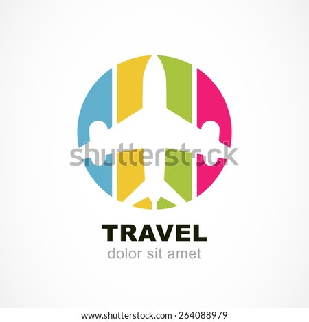 Flight airplane silhouette and colorful stripe background. Travel around the world concept. Abstract vector logo design template. - stock vector