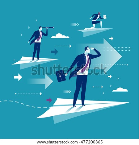 Flight. Business persons balancing on the paper airplanes. Business vector concept illustration