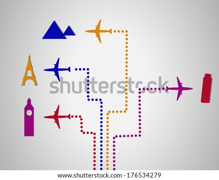 Flight destination dots - stock vector
