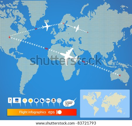 Flight infographics. Civil airplanes trajectories on world map. And signs set - stock vector
