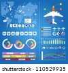 Flight infographics. Civil airplanes trajectories on world map with notes - stock photo