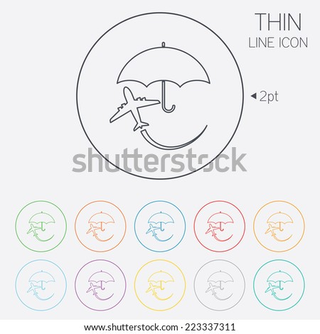 Flight insurance sign icon. Safe travel symbol. Thin line circle web icons with outline. Vector - stock vector