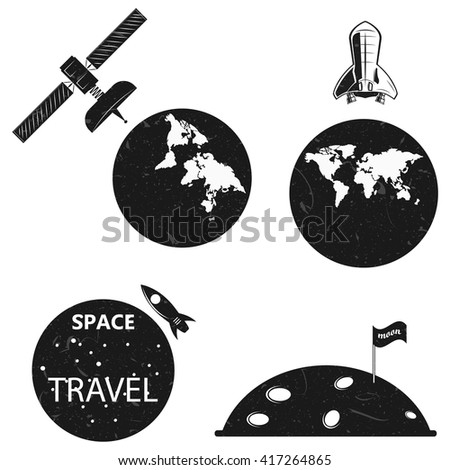 flight into space, the earth from space. the satellites, flight to the moon. vector - stock vector
