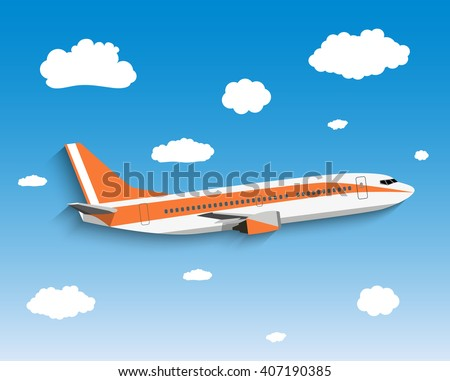 Flight of the plane in the sky. Passenger planes, airplane, aircraft, flight, clouds, sky. vector illustration in Flat design - stock vector