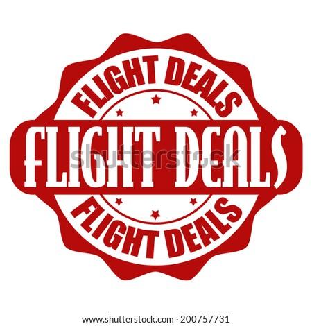 Flight offer stamp or label on white, vector illustration - stock vector