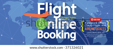 Flight Online Booking For Sale 1500x600 Banner Vector Illustration  - stock vector