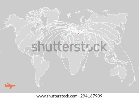 flight routes from Moscow to other parts of the world - stock vector