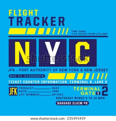 Flight ticket typography, t-shirt graphics, vectors - stock vector