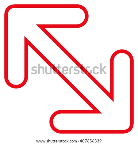 Flip Arrows Diagonal vector icon. Style is stroke icon symbol, red color, white background.