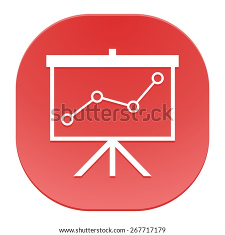 Flip-chart, projection screen with a graph. - stock vector