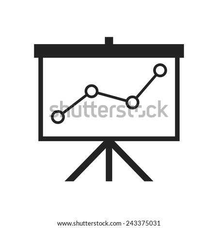 flip-chart, projection screen with a graph. Vector icon - stock vector