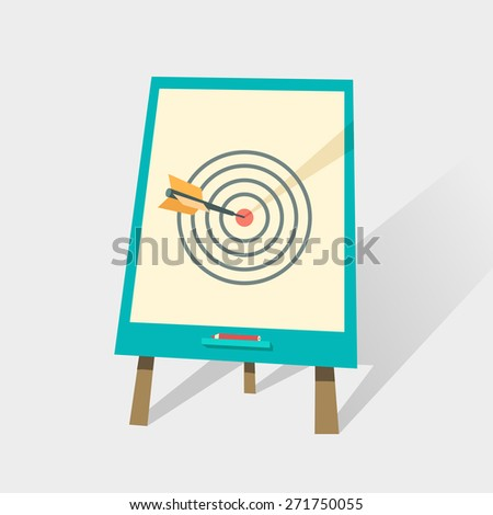 Flip chart with dart hitting a target. Success concept for business or education. Can be used for web, banner, diagram, infographic, workflow layout.  Vector illustration in flat style - stock vector