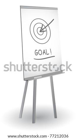 Flip chart with target, arrow and word Goal, vector - stock vector