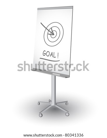 Flip chart with target, arrow and word Goal, vector - stock vector