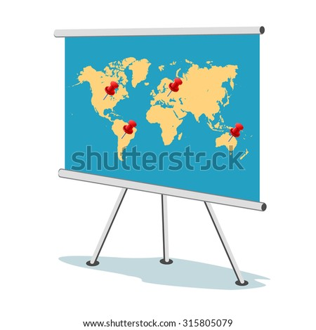 Flip chart, world map with points, business concept,  apps, vector illustration in flat design for web sites, Infographic design  - stock vector