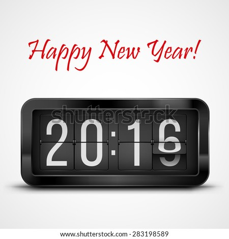 Flip clock as counter for 2015-2016 new year countdown. Vector illustration - stock vector
