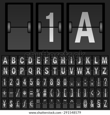 Flip clock template with Countdown Timer and Scoreboard Numbers, date, alphabet and day. Vector. - stock vector