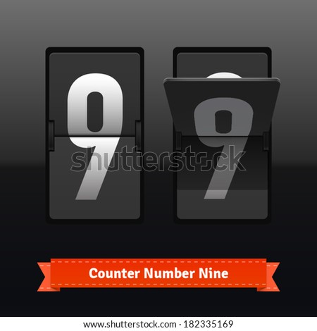 Flip counter template for number nine. Highly editable EPS10 interface elements. - stock vector