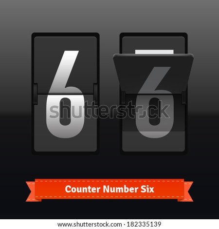 Flip counter template for number six. Highly editable EPS10 interface elements. - stock vector