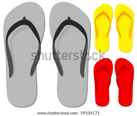 Flip-flop set on a white background. Vector illustration. - stock vector