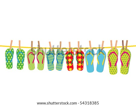 Flip-flops on a rope - an illustration for your design project. - stock vector