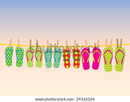 Flip-flops on a rope with the evening sky behind. - stock vector