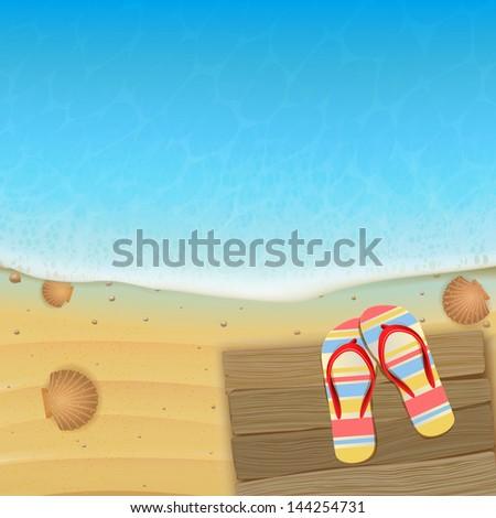 flip-flops on wooden planks on the beach - stock vector