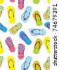 Flip-flops. Seamless summer pattern - stock vector
