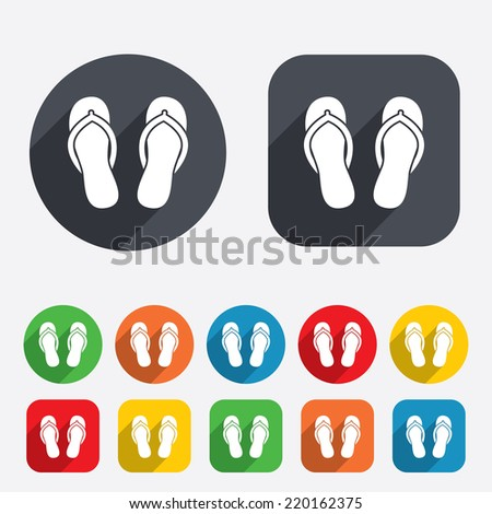 Flip-flops sign icon. Beach shoes. Sand sandals. Circles and rounded squares 12 buttons. Vector - stock vector